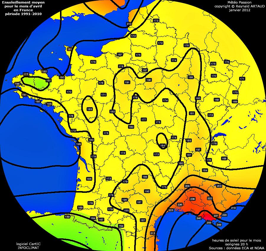 ensoleillement moyen pour le mois d'avril en France période 1991-2010 Reynald ARTAUD météopassion