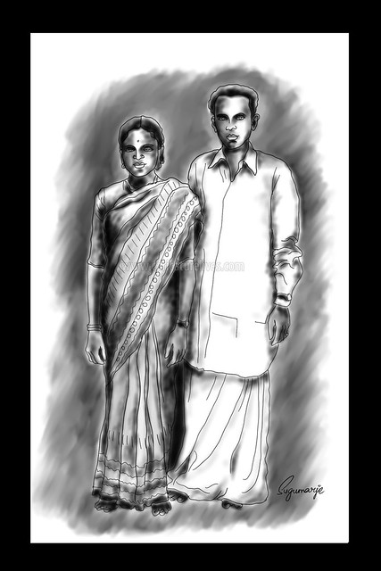 Parents,  charcoal, caricaturist-sugumarje, caricature, drawing, dad. mom. father, mother, portrait