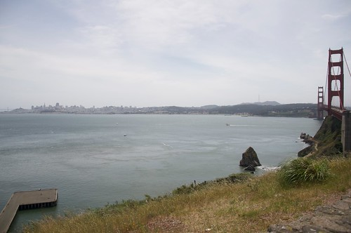 View of San Francisco from the far side of the Golden Gate Bridge (pictured)