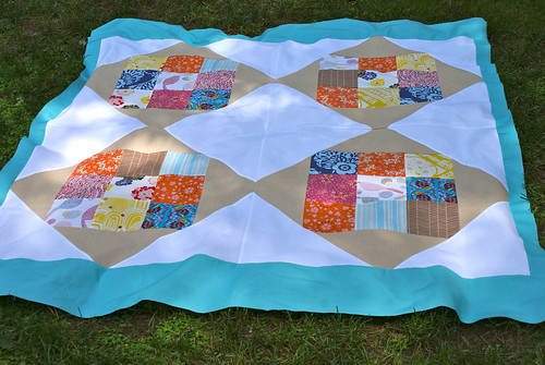 Pinapple Log-Cabin Quilt Top
