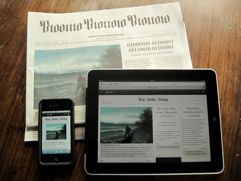 Neue Zürcher Zeitung - Printed paper, iPhone and iPad