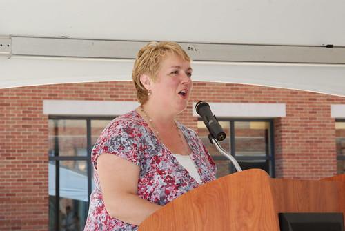 Beth Pittman of the Undergraduate Programs office sings Carmen Ohio at the 2012 Undergraduate Graduation Celebration