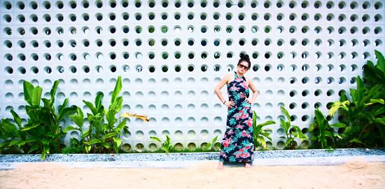 Strike a pose! This nice wall at TBC is a perfect backdrop. Here, a super long Hawaiian print long wrap skirt doubles up at as a halter sarong dress.