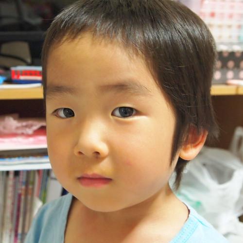 3歳児の散髪 バリカンで