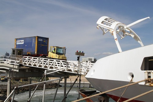 20 foot ISO container on a trailer being loaded onto the Spirit of Tasmania II