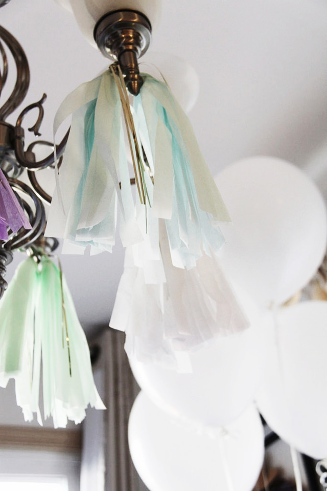 diy tissue paper tassels, spring birthday party, white and silver balloons, 25th birthday party, diy paper diamonds, diy fringe garland, diy party decorations