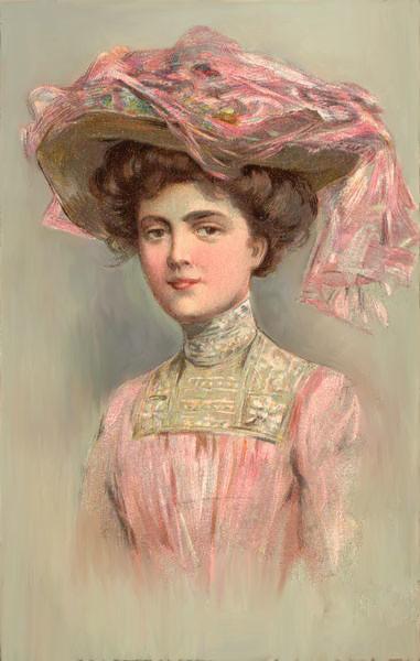 VictorianWomanInPinkPoscard