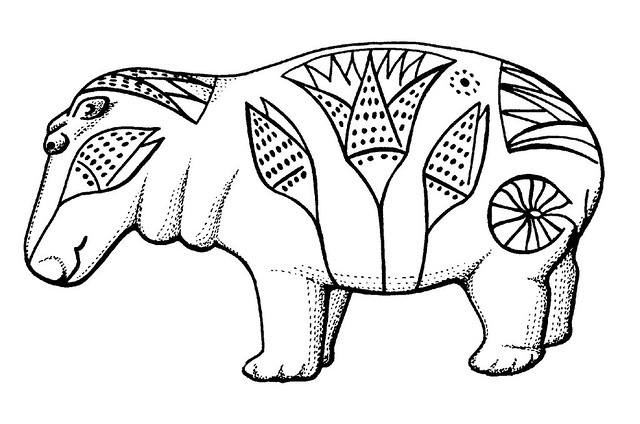 line drawing of hippopotamus bearing stylised Egyptian floral motifs
