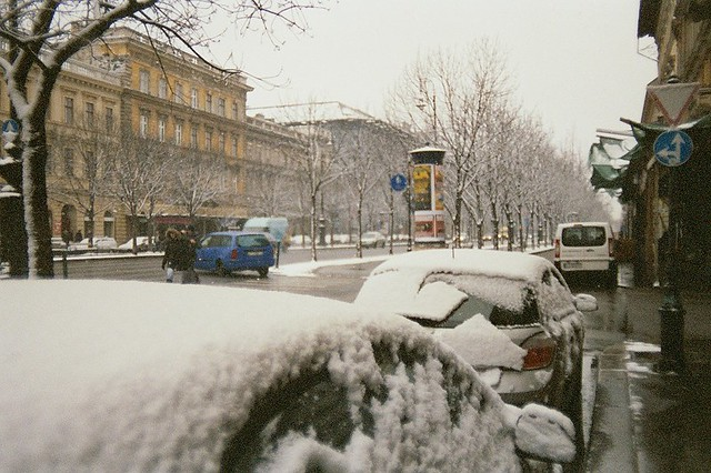 Budapest, city, streets, tour, trip, journey, Hungary,  snow, winter, spring, 35mm film photography,  Kodak MAX 400 expired, streets, traffic, signs, snow, cars