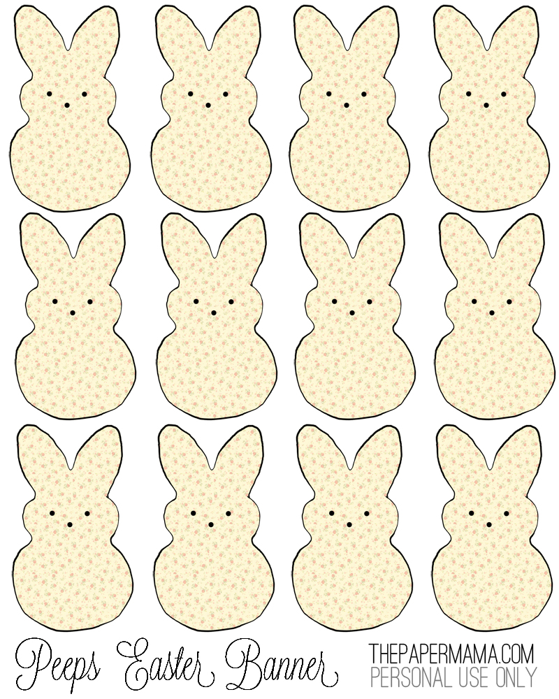 peeps easter banner with free printable