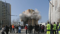 Démolition de la tour du 1 rue d'Athènes, à Belfort