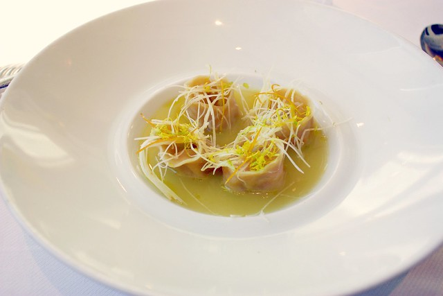 Peekytoe Crab Dumplings with Celeriac-Meyer Lemon Tea at Jean Georges New York