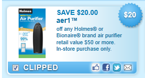 $20.00 Off Bionaire Or Holmes Aer1 Ready Coupon