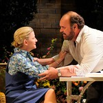 Eleanor (René Augesen) and her husband, the Marxist professor Max (Jack Willis), learn to grapple with her illness in the Huntington Theatre Company's production of Tom Stoppard's <i>Rock 'n' Roll</i> at the Avenue of the Arts/BU Theatre. Part of the 2008-2009 season.
