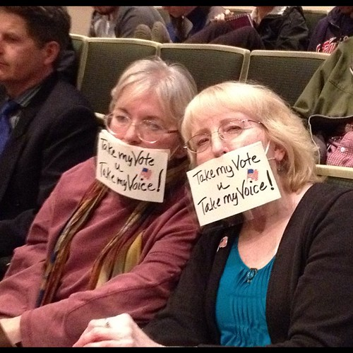 Lennie Moren (left) & Jane A. Darden protesting disenfranchisement at the Anchorage Assembly, 10 Apr 2012..