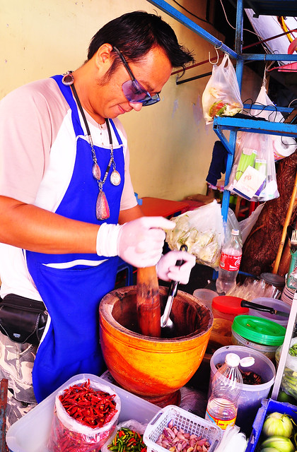 Som Tom Salad Maker; Street Food Alley, Chiang Mai