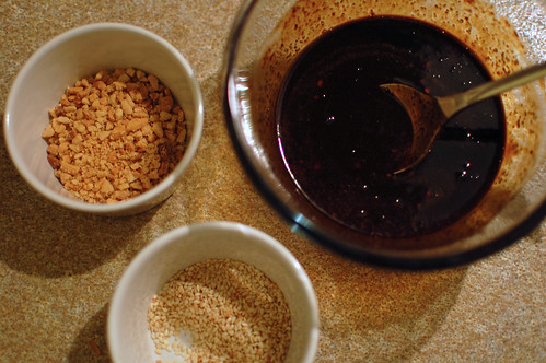 Rojak Dressing and Peanuts and Sesame Seeds