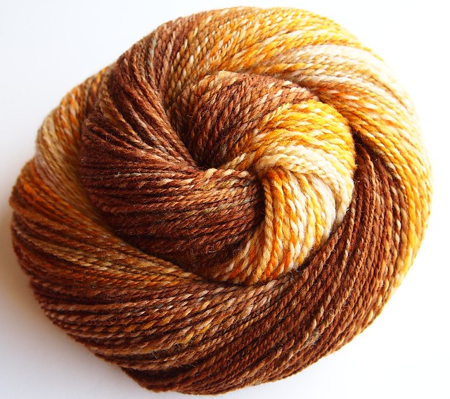 FCK-Fiber Club Famous Couples-2012-April-Brad and Angelina-85Polwarth15Tussah Silk-4oz Brad-435yds-2-ply