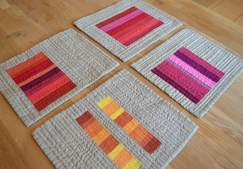 Pink, Saffron, Blood Orange and Crimson - Red inspired mini quilts