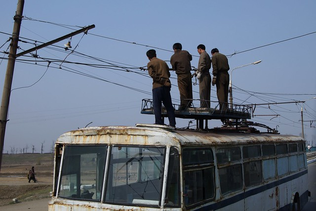 Tram Repairs North Korea