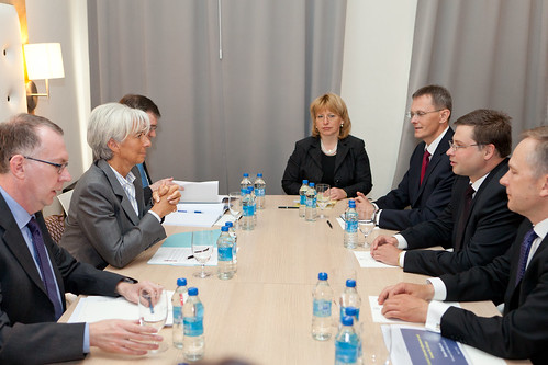 Ministru prezidents Valdis Dombrovskis tiekas ar Starptautisk? Val?tas fonda izpilddirektori Krist?ni Lagardu