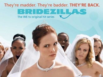 screen cap of the show bridezillas, showing a white woman scowling in a wedding dress