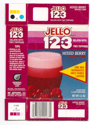 Old General Foods Jell-O 1-2-3 Gelatin Mixed Berry Box
