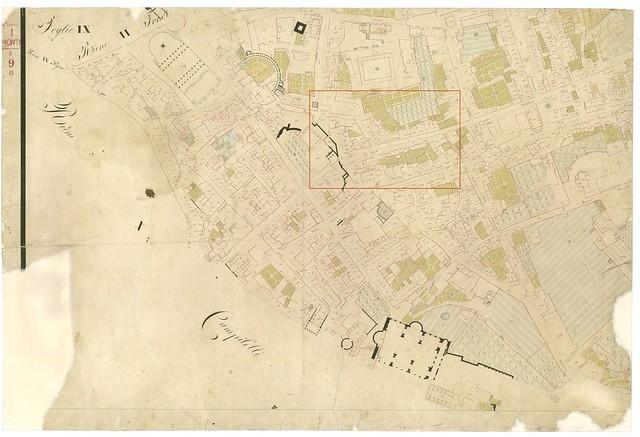 ROMA ARCHEOLOGIA: ROMA, Rioni Monti I, I Fori Imperiali, Catasto Pio-Gregoriano, folio nn. 9, (1819-1824), in: Scala 1:500. MiBAC / ACR Roma (2005/2012). [Nota: 10700x7300 pixels & 15.1mb].