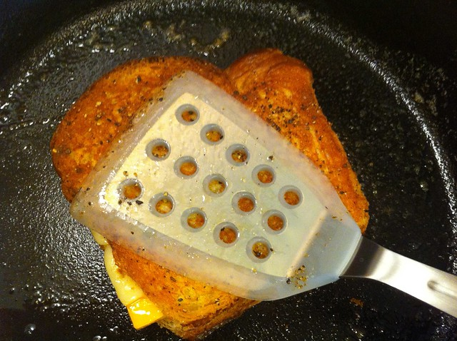 Grilled Cheese Pressed with Spatula