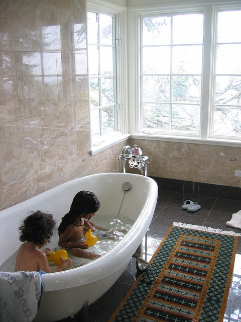 photo of children in a tub
