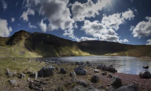 uk lake mountains wales clouds landscape shadows bluesky scene lakeside reservoir hills brecon beacons powys dappledlight