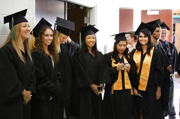 <p>Happy graduates at Maui College's commencement ceremony on May 13</p>