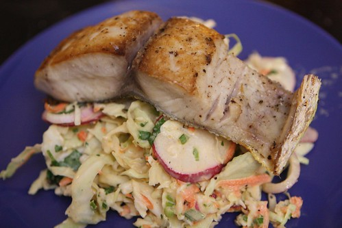 Pan Roasted Mahi-Mahi with Cabbage Radish Slaw