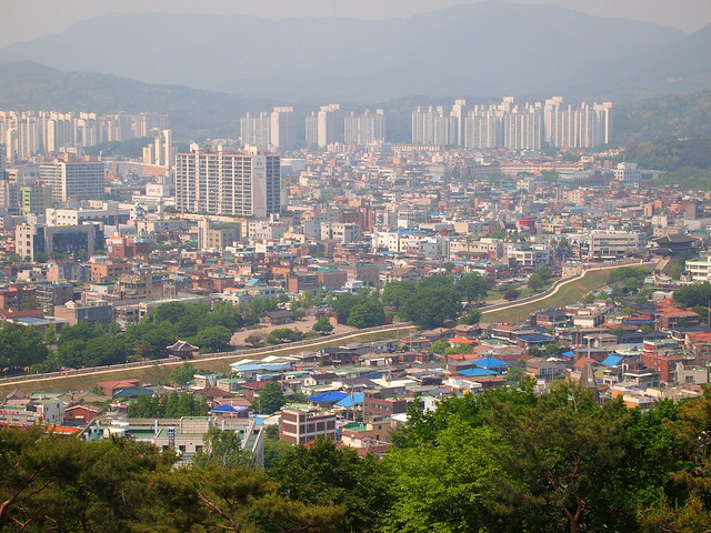 A view of the city of Suwon and the Hwaseong Fortress Wall.