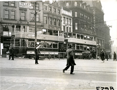 Trams on Angel street in Sheffield