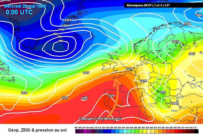 carte de situation du soleil et du cou de chaleur de fin mai 1996 météopassion