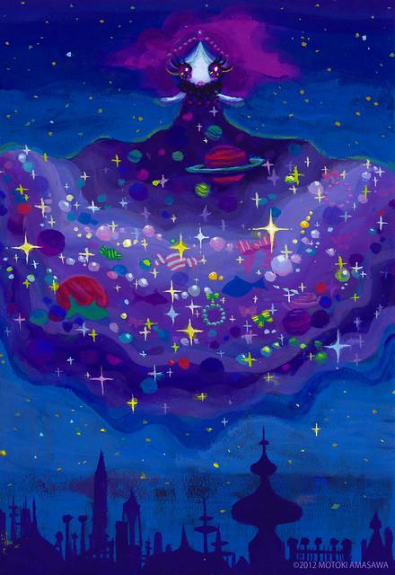一枚絵33_夜空の宇宙スカート