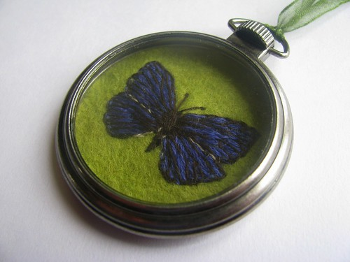 Embroidered Butterly Fly Pendant by Handmade and Heritage