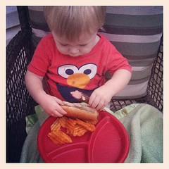 Elmo likes hot dogs too! #sixcherries #elijahgabriel