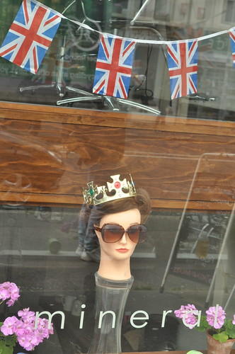 Jubilee decorations in the window of a hair salon in Hove..