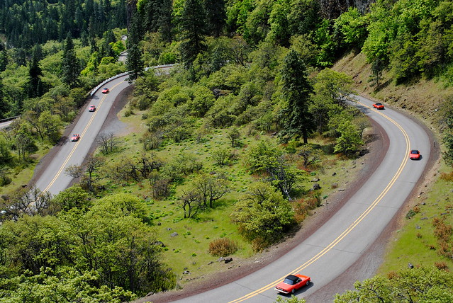an Alfa Romeo club driving down the Historic Columbia River Hwy