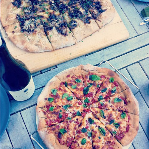 Homemade pizza dinner al fresco
