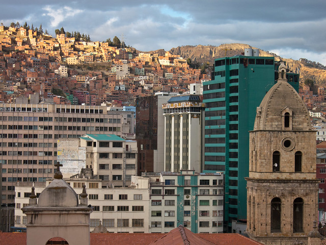 Religious, commercial and residential buildings juxtaposed in downtown in La Paz