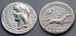 340/1a L.PISO L.F L.N FRVGI Calpurnia Denarius. Apollo head LEFT, gamma, Horseman with whip; lizard. Rome 90BC. Extr.rare head-left type, few known. AM#1228-39, 18x19mm 3g87