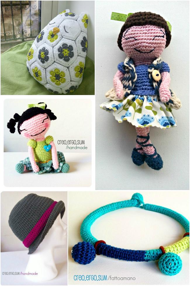 negozio handmade giorgia creo ergo sum, collane amigurumi, cuscino crochet, collaborazione a little market