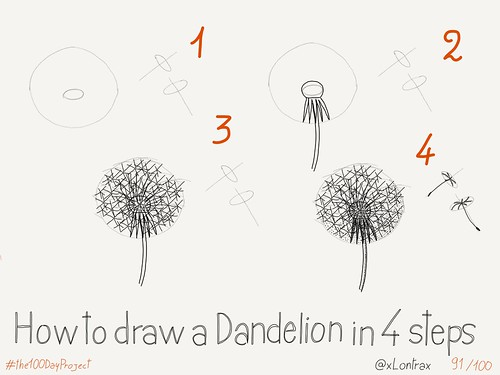 How to draw a dandelion images for How to draw a dandelion step by step