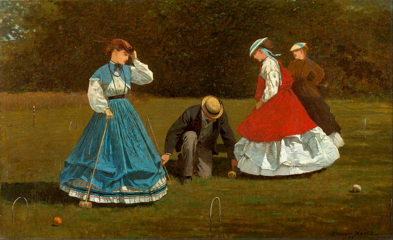 Croquet players of 1864 loop their skirts up from floor-length over hooped petticoats. Croquet Scene by Winslow Homer, 1864