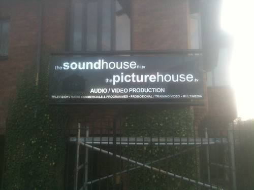 polished silver lettering on a folded dibond tray for the sound house belfast