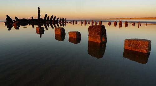 Freshfield beach wreck at sunset by frazerweb