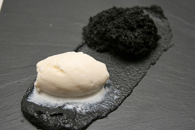 6th Course SG BACK IN TIME black sesame micro sponge, soy bean ice cream